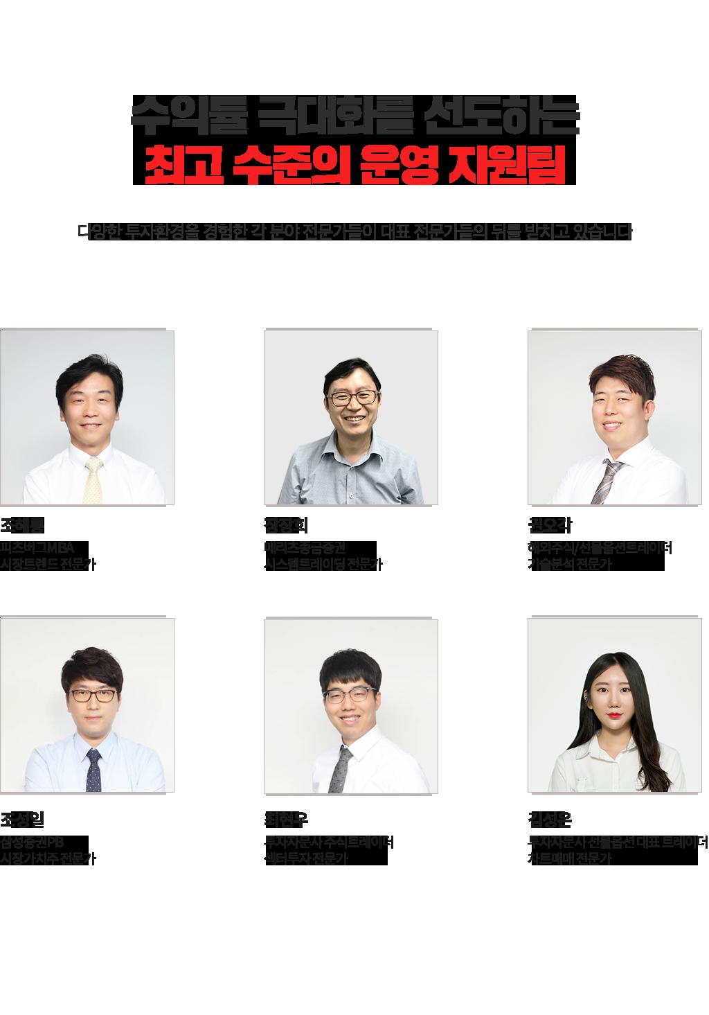 수익률 극대화를 선도하는최고 수준의 운영 지원팀