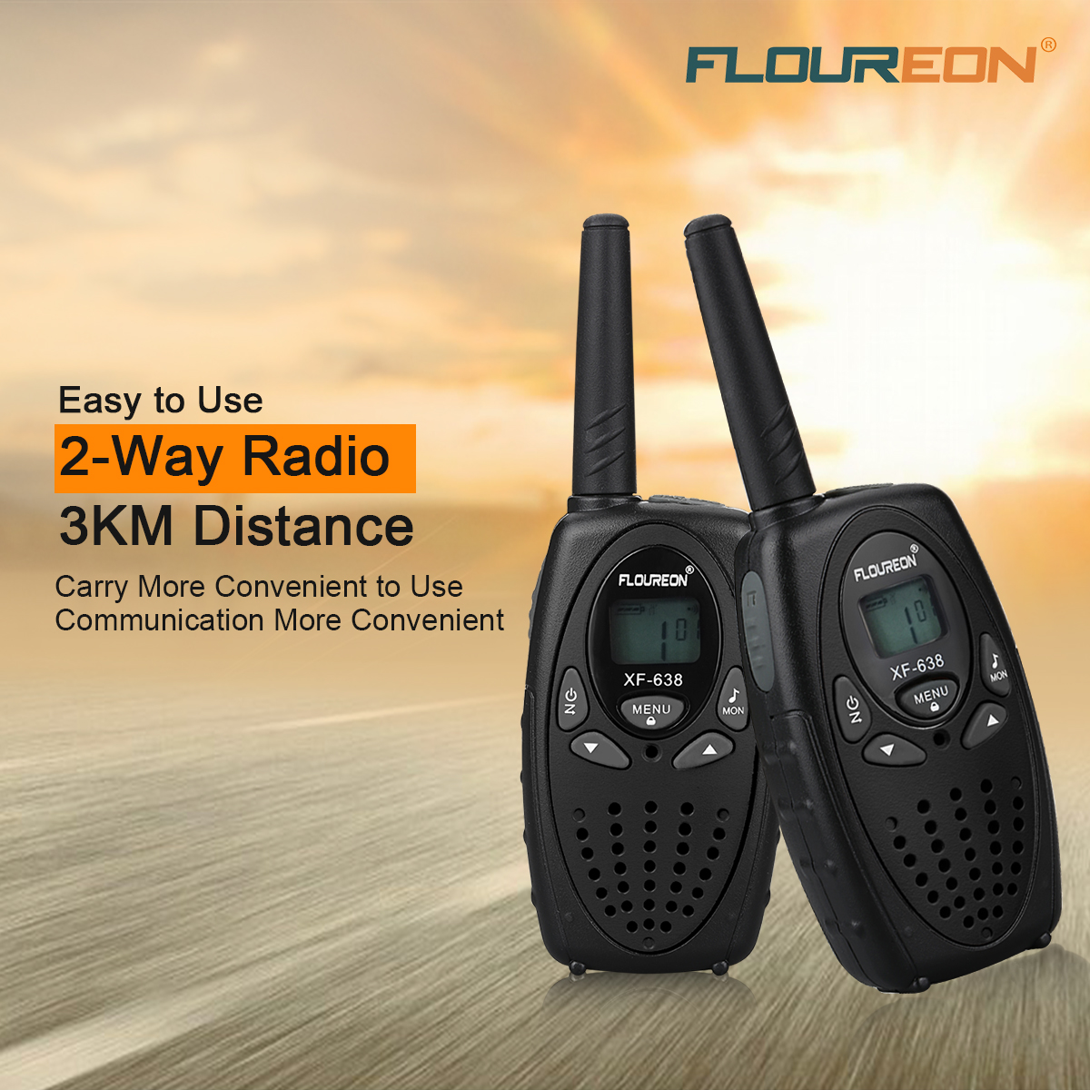 floureon 22 channel uhf462 467mhz 2 way radio walkie. Black Bedroom Furniture Sets. Home Design Ideas