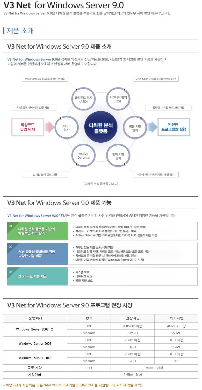 [안랩] V3 Net for Windows Server 9.0 [서버용/1년사용/DSP]