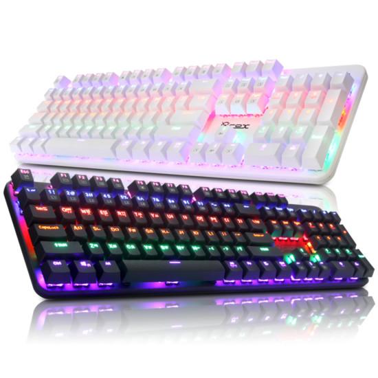 [COX] CK420 교체축 레인보우 LED 게이밍 기계식 키보드 (블랙, 청축)