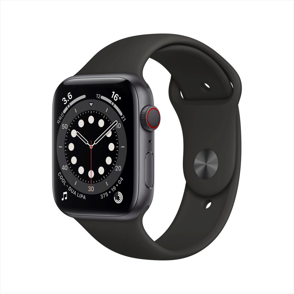 [애플] 애플워치 6 Cellular, 44mm (스페이스그레이 알루미늄 케이스/블랙 스포츠 밴드) [MG2E3KH/A]