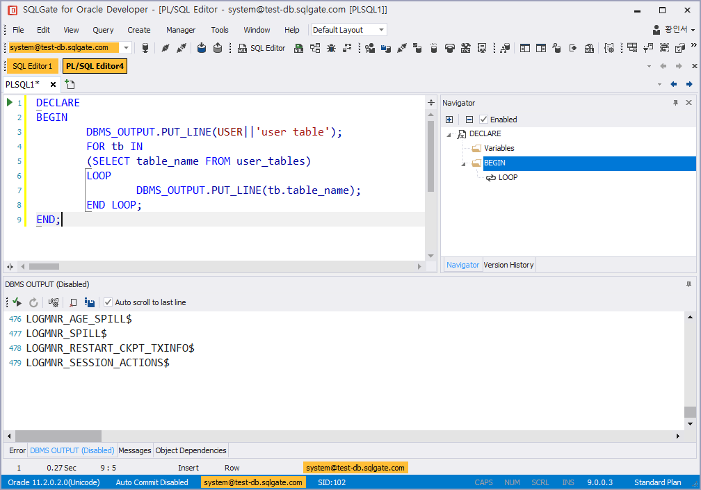 DBMS_OUTPUT view