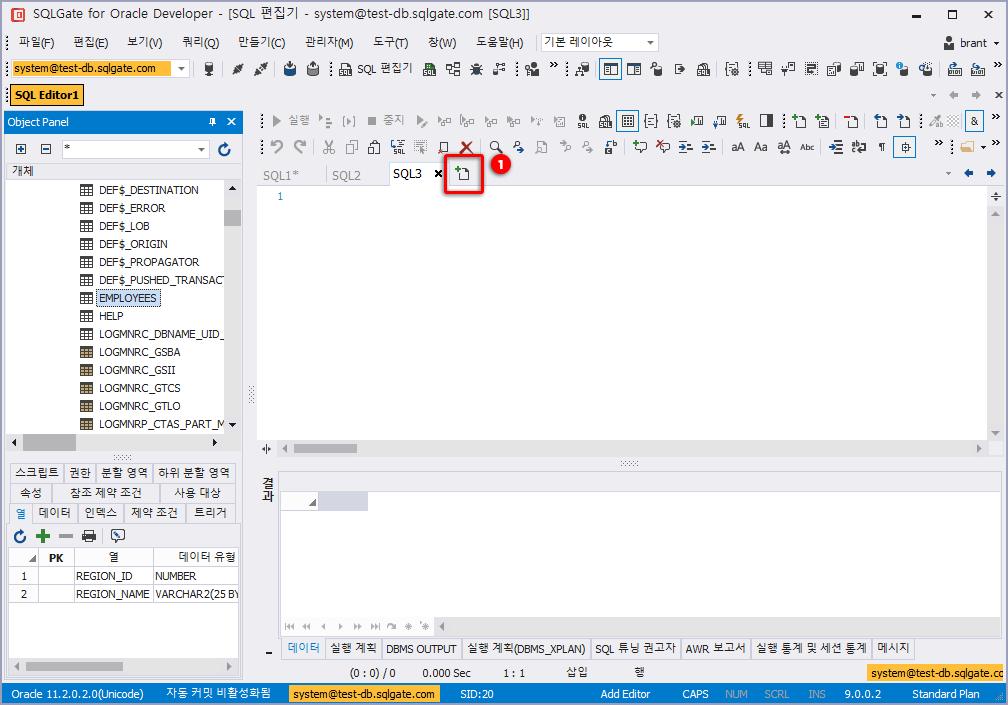 편집기 창 탭 추가하여 SQL 실행하기