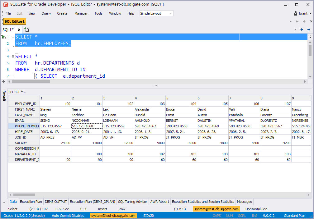 Change Query Result Window View Horizontally/Vertically
