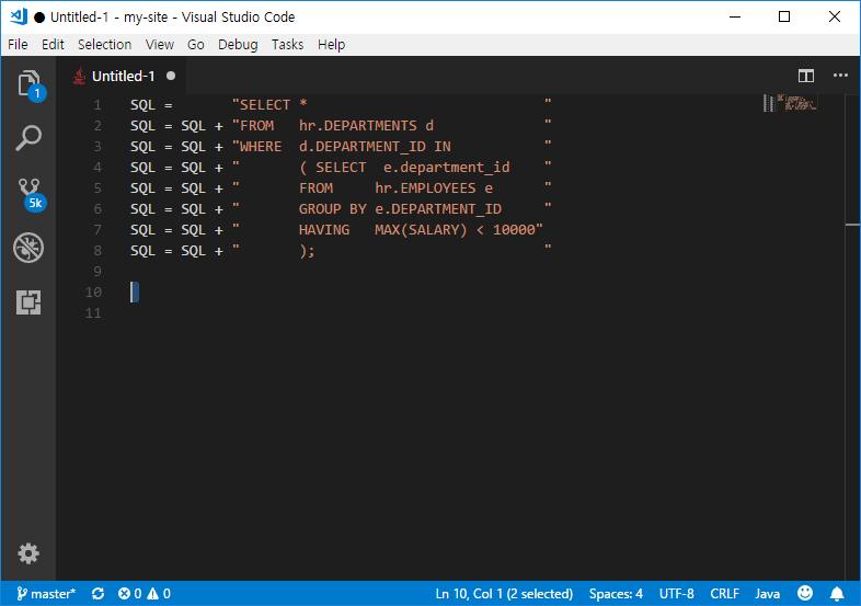 Convert SQL to Java Codes