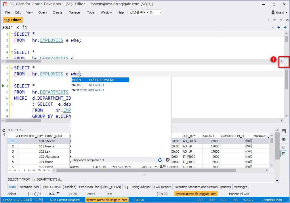 Display Two SQL Editor Windows