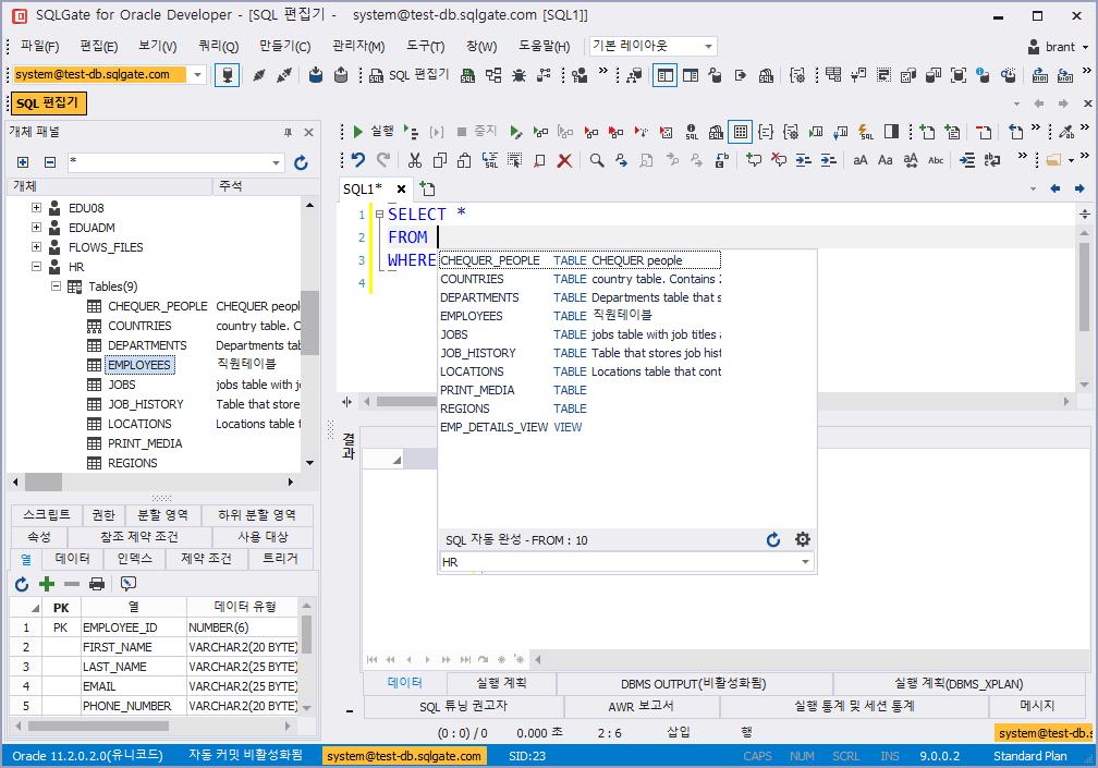 SQL 에디터에서 코드 템플릿 자동완성 실행 결과