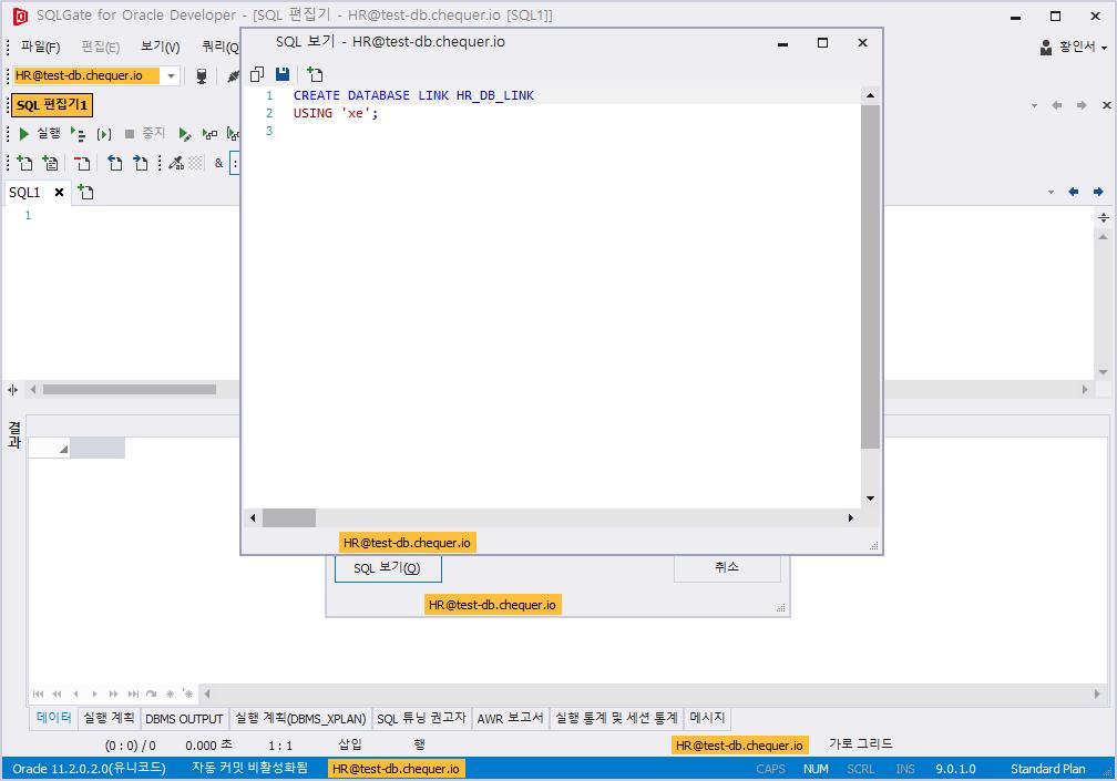 데이터베이스 링크 만들기 생성된 SQL 확인