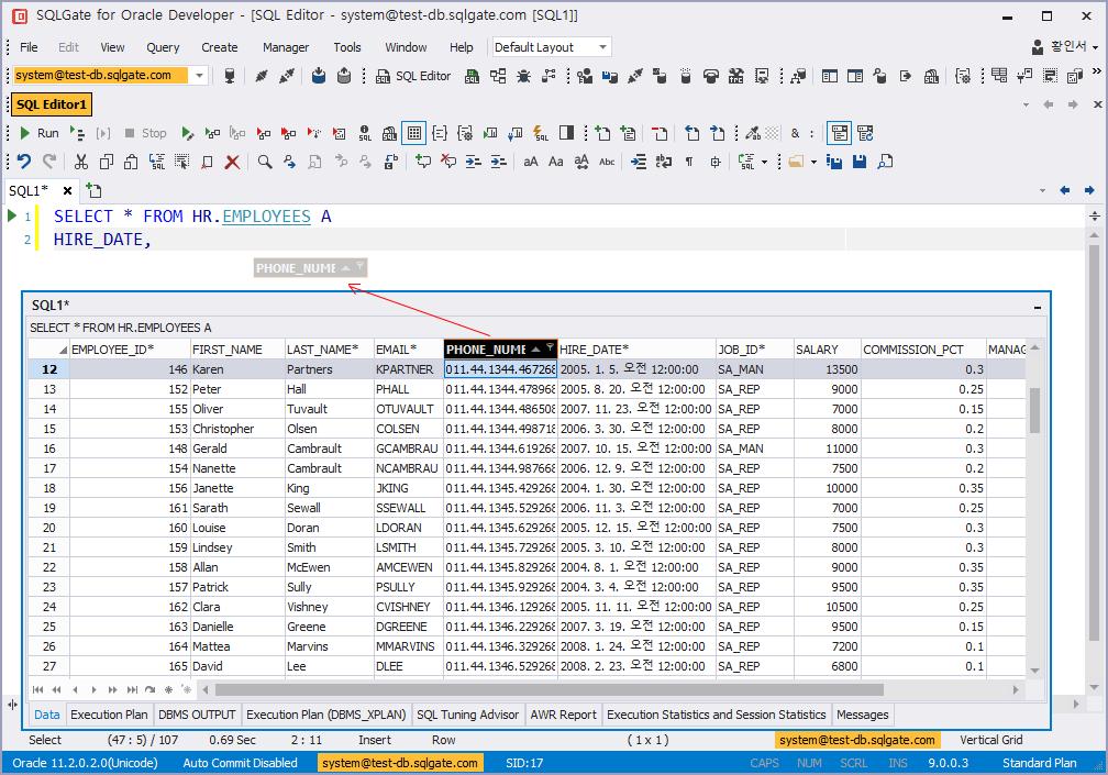 Work on Data Grid · SQLGate - The Most Intelligent IDE for Database