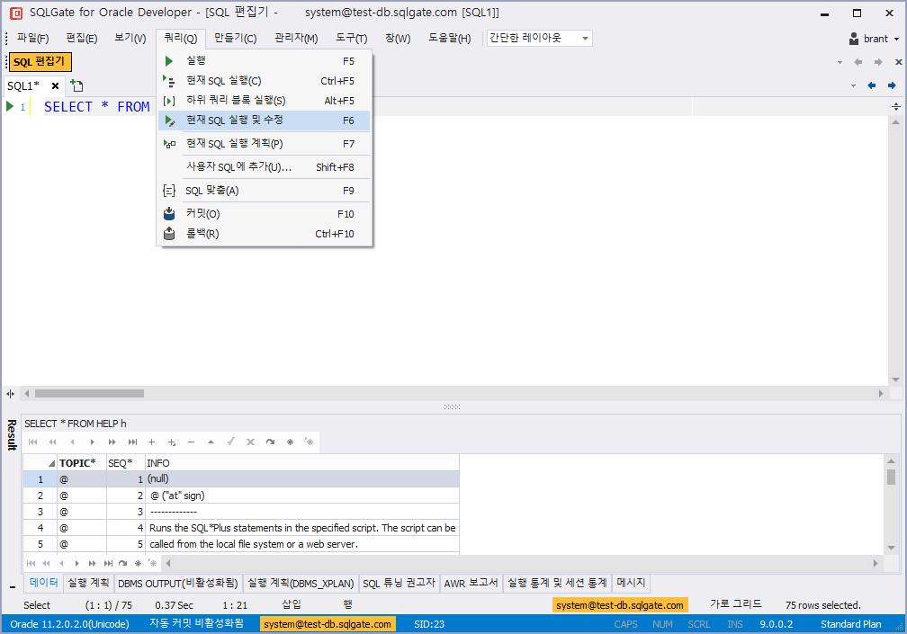 현재 SQL 실행 및 수정, run and modify current SQL, 오라클
