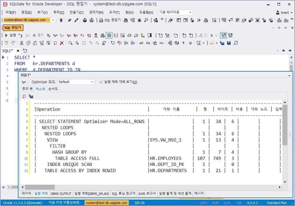 SQL 실행계획 텍스트로 보기