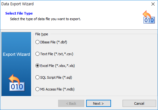 export data in query result