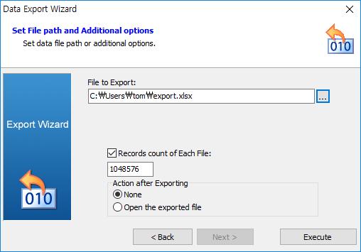 Set data export wizard options