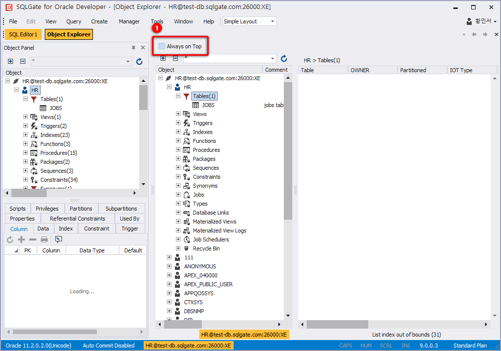 Object Tabs in Object Explorer