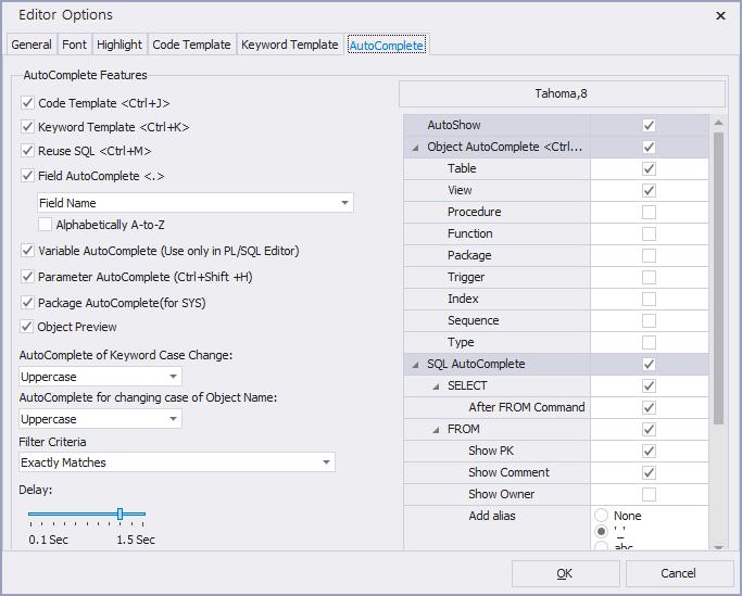 option SQLEditor autoComplete