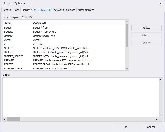 option SQLEditor codeTemplate