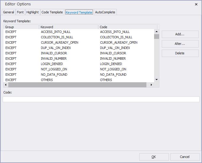 option SQLEditor keywordTemplate
