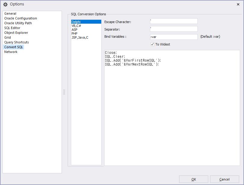 option convertSQL
