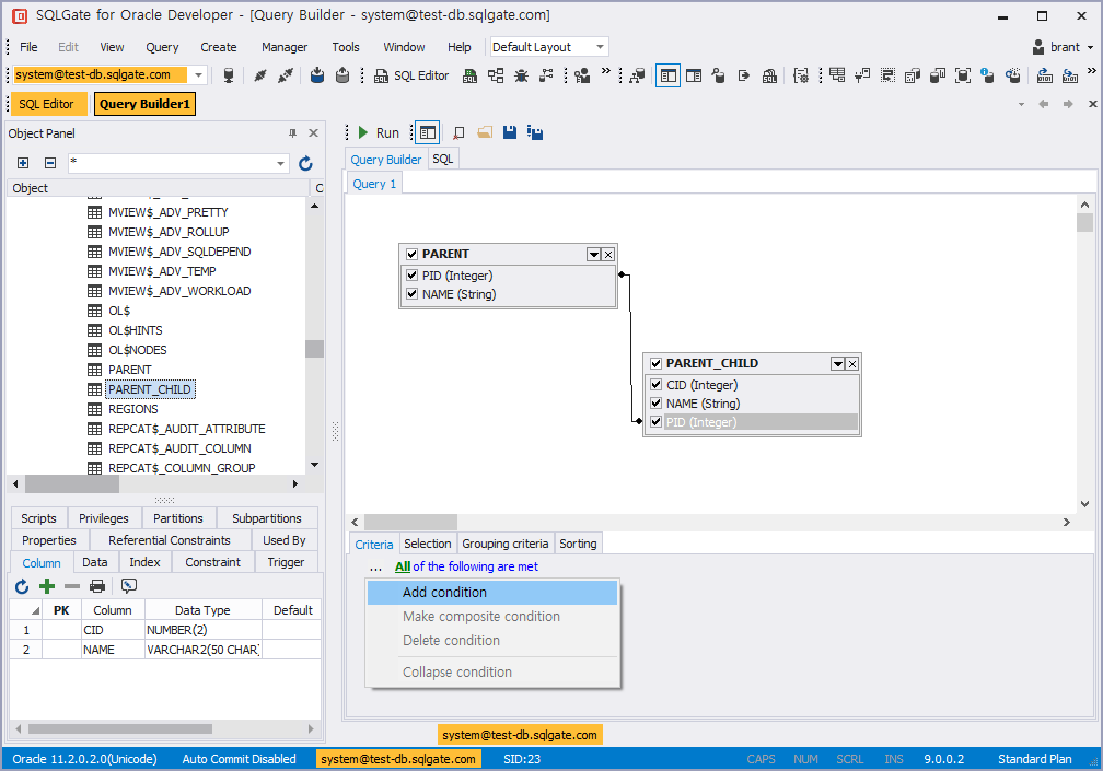 SQL query builder add condition