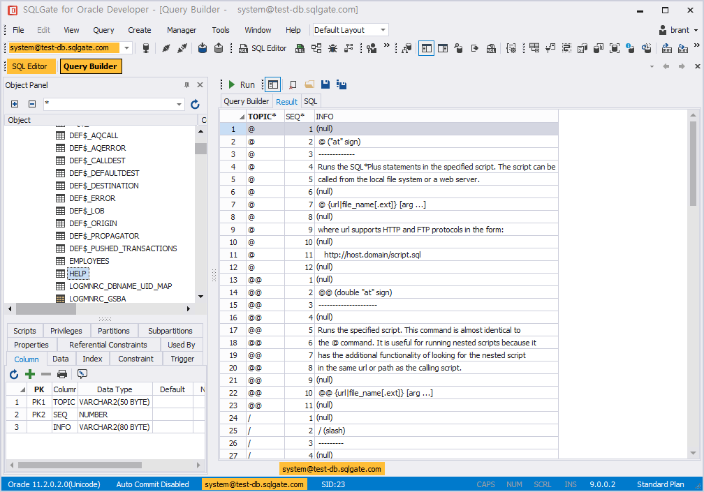 SQL query builder excute result