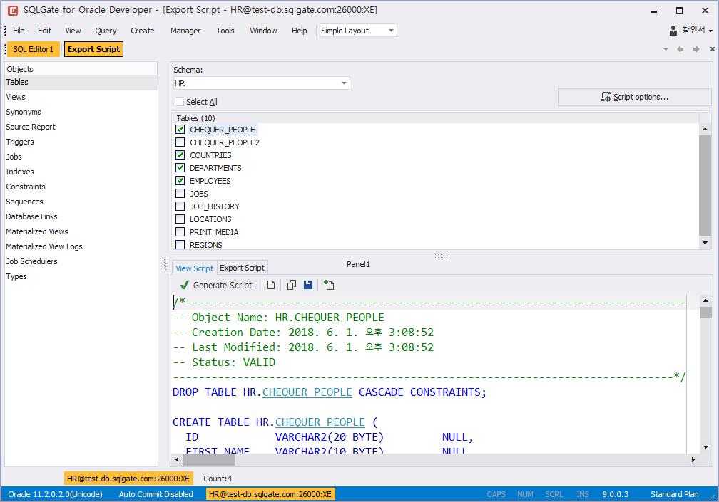 Export Table Script