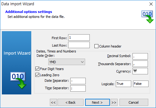 import data wizard file additional option