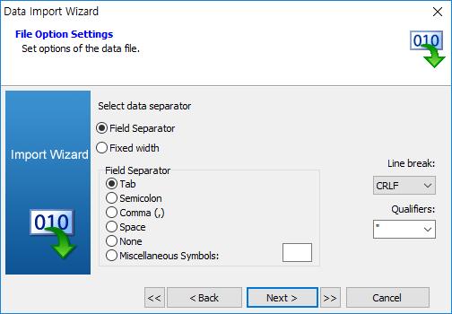 import data wizard fiile option