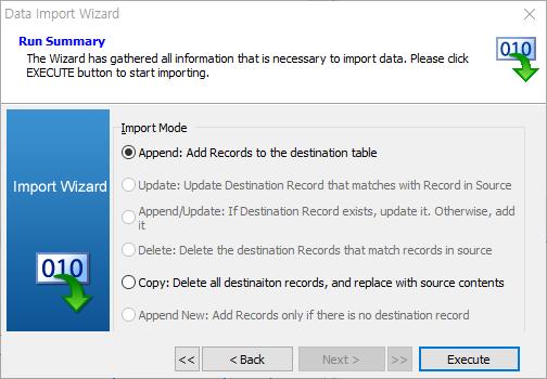 import data wizard run summary