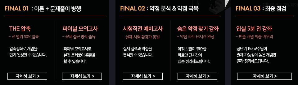 FINAL 01: 이론 + 문제풀이 병행/ FINAL 02: 약점 분석 & 약점 극복 / FINAL 03: 최종 점검