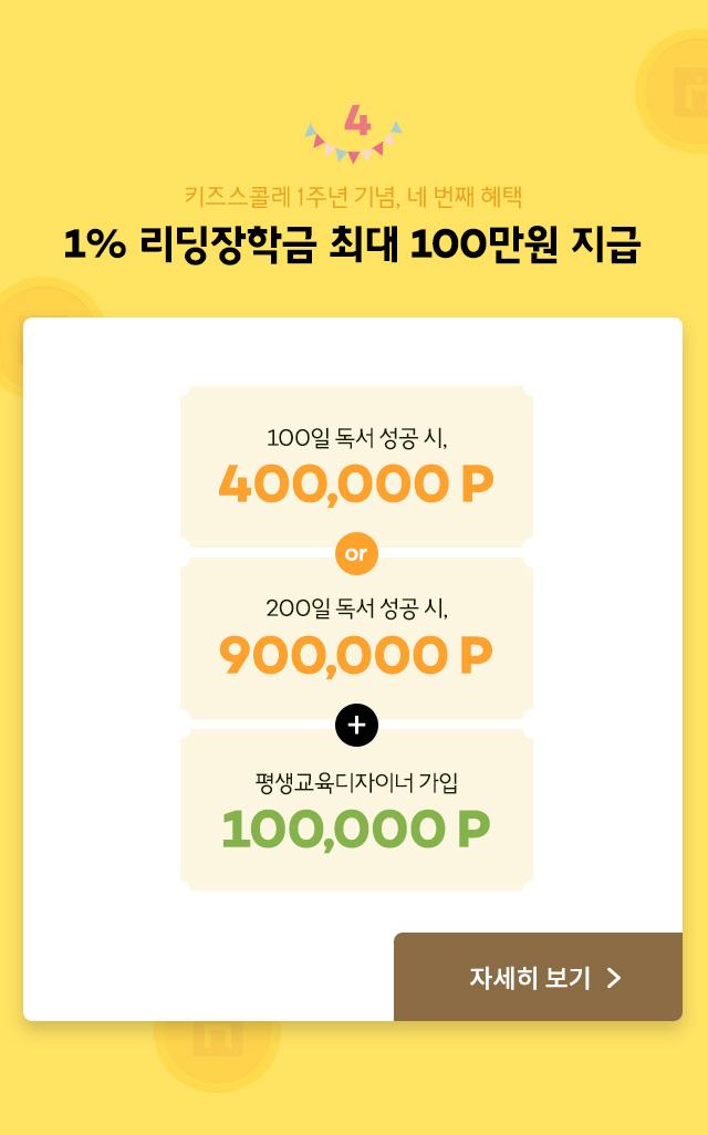 4 키즈스콜레 1주년 기념, 네 번째 혜택 1% 리딩장학금 최대 100만원 지급