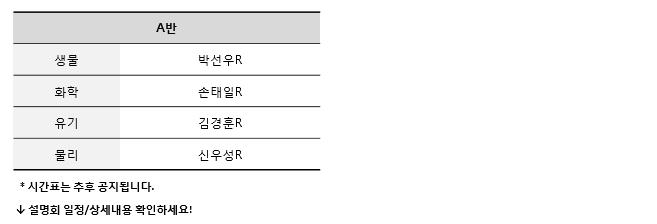 대구캠퍼스 시간표