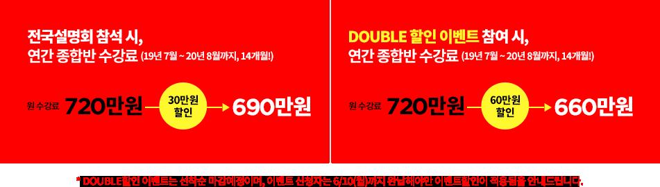 DOUBLE 할인 이벤트 참여 시, 연간 종합반 수강료 (19년 7월 ~ 20년 8월까지, 14개월!) 660만원