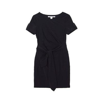 ribbon belted mini dress black