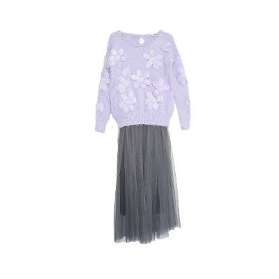 2112b20249 El estilo de Claire - flower pointed knit top lavender sha skirt gray