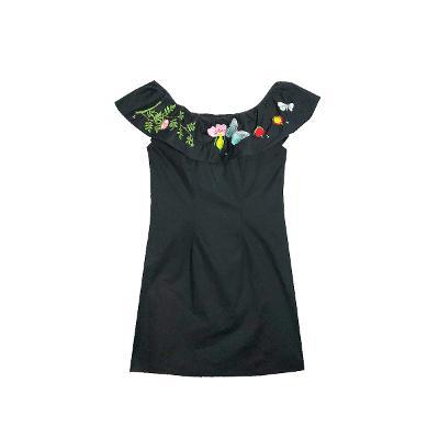 off-shoulder emboidery dress black