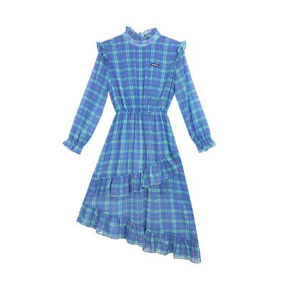 check frill chiffon dress blue