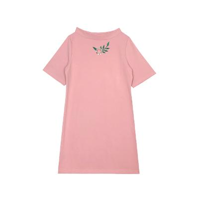 boat neck eyelet dress pink