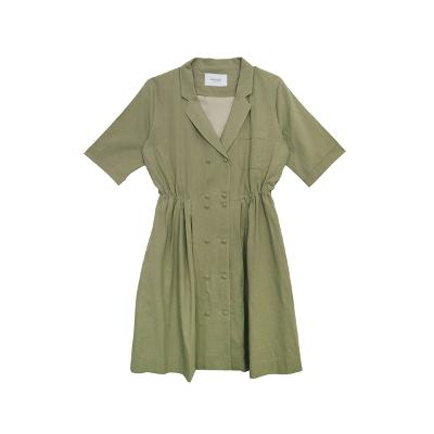 double button button dress khaki