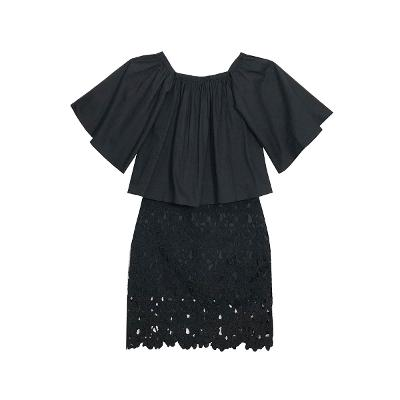 [66]El estilo de Claire – offshoulder shirring blouse_punching lace skirt black