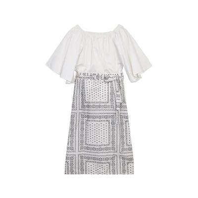 [free]El estilo de Claire – shirring offshoulder ruffle blouse_ethnic cotton wrap skirt