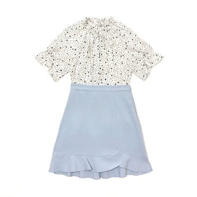 [66]Plot - neck shirring string blouse_Lookast - flare ruffle skirt