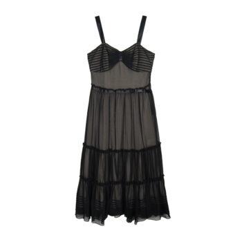 0690ea7f998 ... shirring lace sleeveless dress black