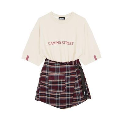 Camino Street - lettering tee beige & check pants skirt brown