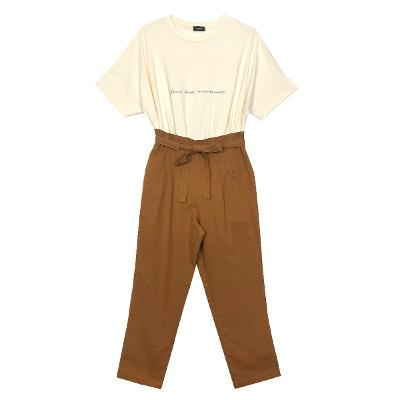 [free] Camino Street - summer lettering tee ivory & linen banding pants brown 1