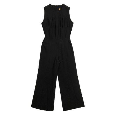 Cellva - shirring sleeveless top black & triangle pants black