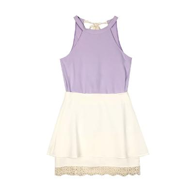 Clopitz - lace halter neck top lavender & lace flared skirt cream