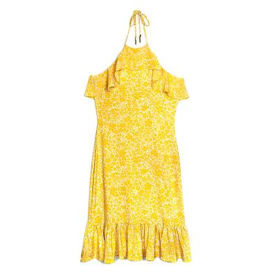 44d5232db72 ... floral print halter neck dress yellow ...