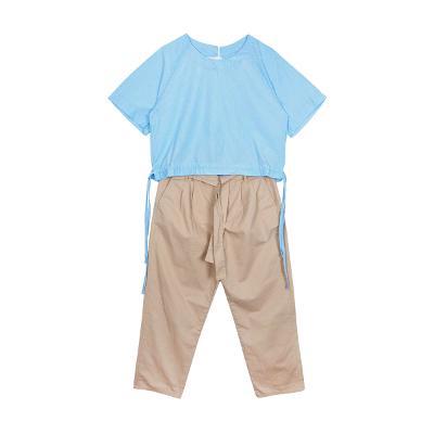 Right Route - banding stripe tee skyblue & Zara - wide cotton pants beige