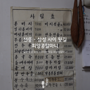 선릉 - 삼성 사이 뒷길 피양콩할마니