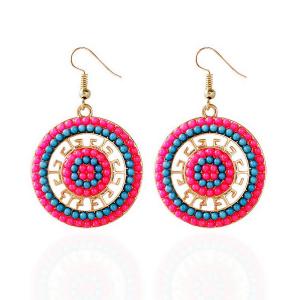 IDB Pretty Boho Circle Glass Seed Bead Hook Earrings